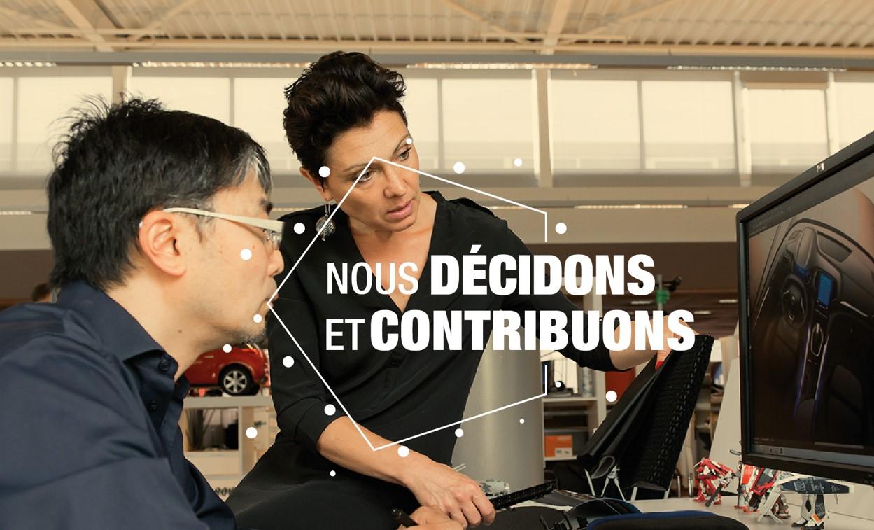 """Illustration de notre quatrième valeur """"Nous décidons et contribuons"""", représentant un échange d'expertises entre collaborateurs"""