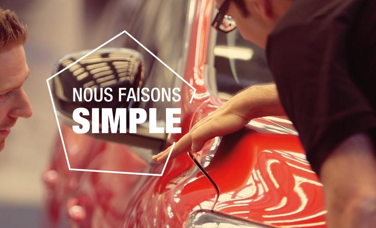 """Illustration de notre troisième valeur """"Nous faisons simple"""", représentant un véhicule de notre marque au design épuré"""